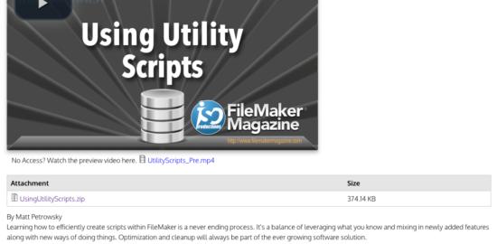 Using Utility Scripts | FileMaker Magazine