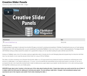 Creative Slider Panels | FileMaker Magazine